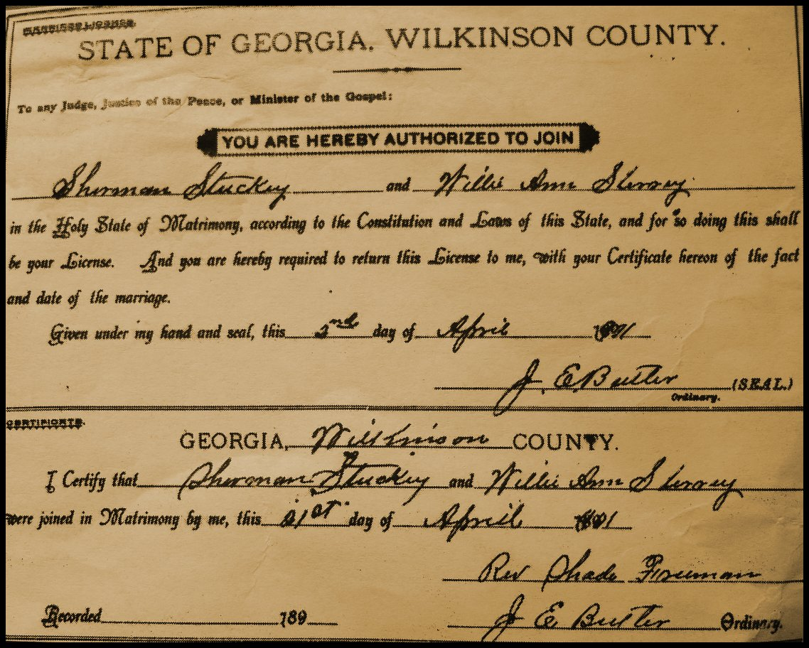 Marriage license of Sherman Stuckey and Willie A. Sherry